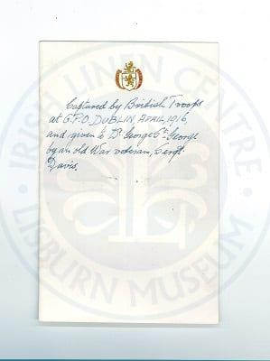 Dr George St Georges Handwritten note 1916 tricolour lisburn
