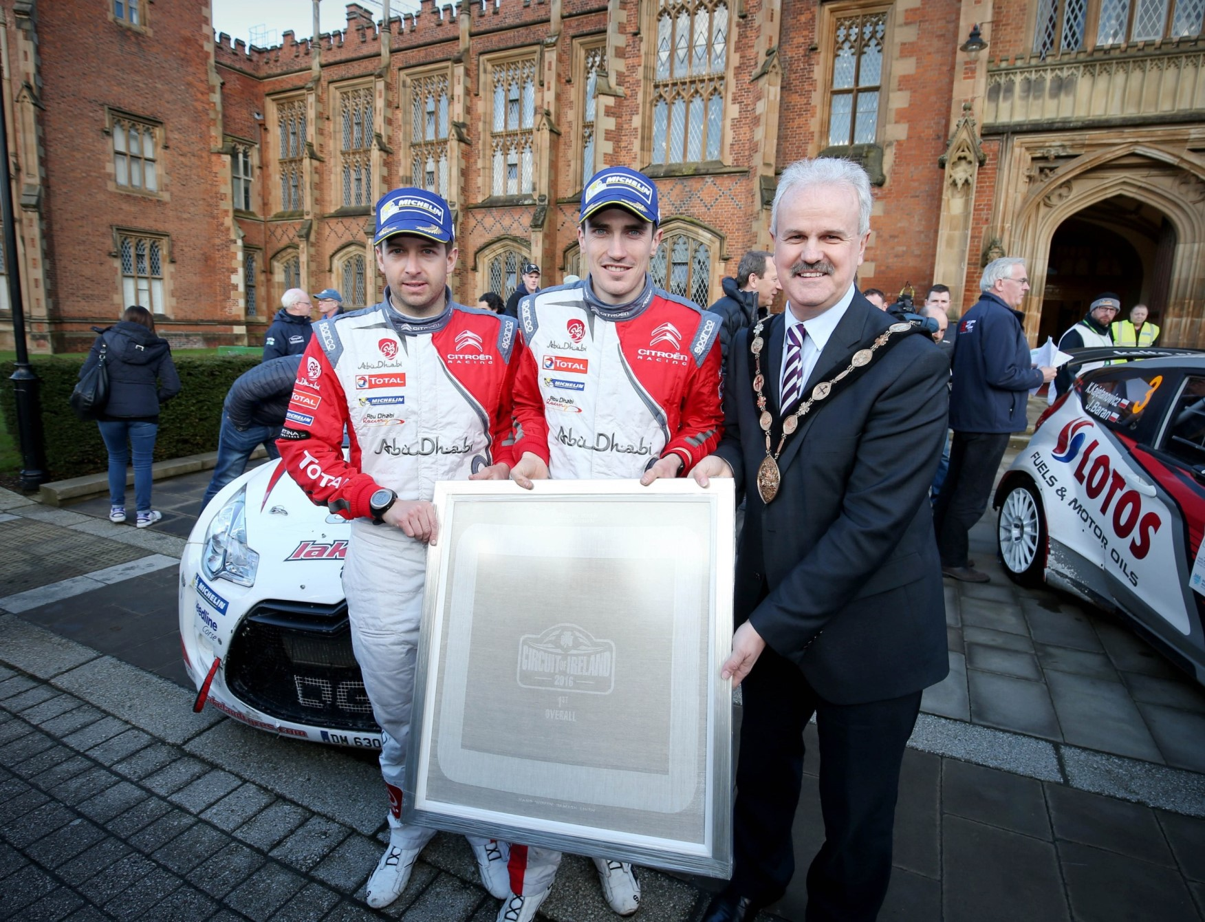 Historic 'Linen' prize for Circuit winners – presented by Lisburn & Castlereagh Mayor Mayor of Lisburn & Castlereagh, Councillor Thomas Beckett presents Craig Breen (centre) from Waterford and his co-driver Scott Martin, winners of this year's Circuit of Ireland International Rally with a very special and totally unique hand woven linen napkin marking the Circuit's historic 85th year. The Irish Linen Centre with Lisburn & Castlereagh City Council created the hand-finished bespoke napkins for the three top crews and the Mayor presented them during the closing ceremony at Queen's University showcasing the Lisburn region's historic linen industry. The high quality damask linen napkins feature a Circuit of Ireland pattern and were produced using a traditional hand loom by Lisburn Museum's specially trained hand weavers and designers.