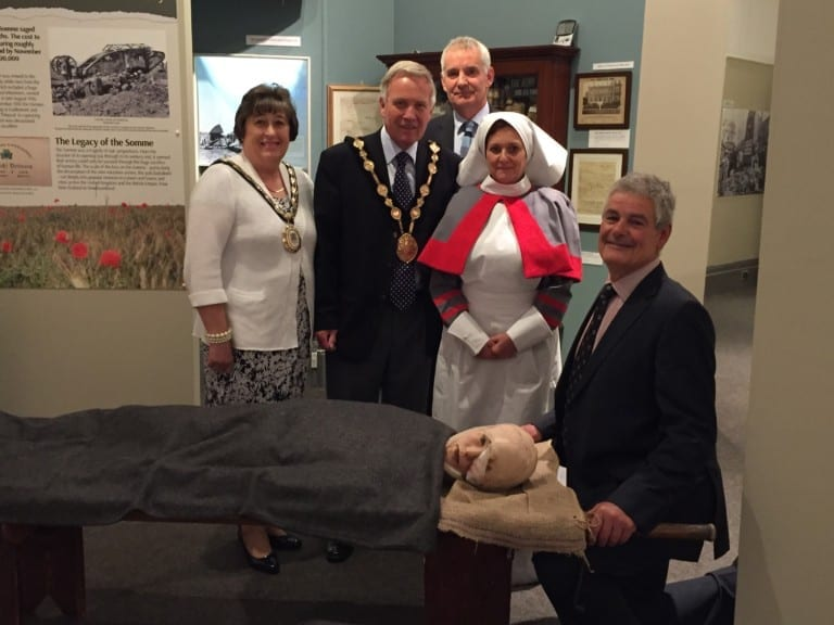 Rosalind Bloomfield, Lisburn Castlereagh Mayor Bloomfield MBE, Brian Mackey, Curator, Tim Morrow Irish Linen Centre & Lisburn Museum Somme 2016