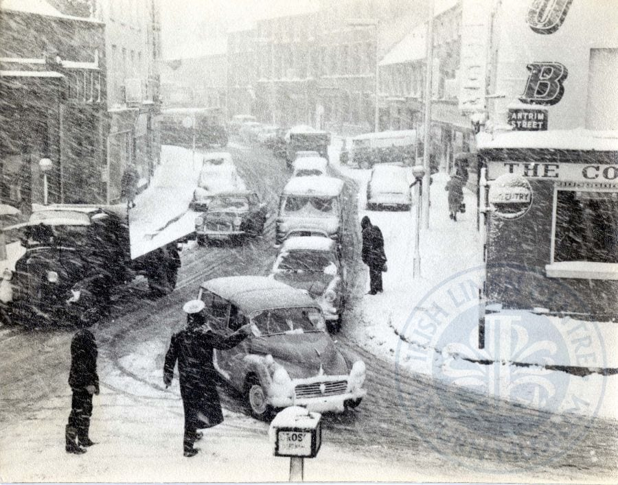 Corner of Antrim Street/Bow Street in the snow, c.1963