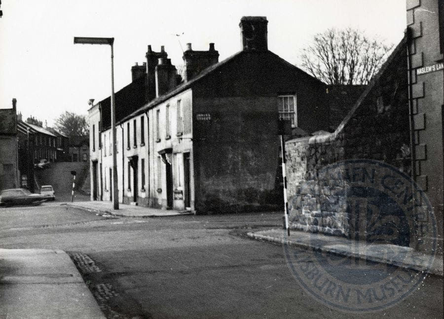 Lisburn Advent Calendar 2016 – Day 11: Haslem's Lane, with James's Street to the right, Smithfield, c.1964