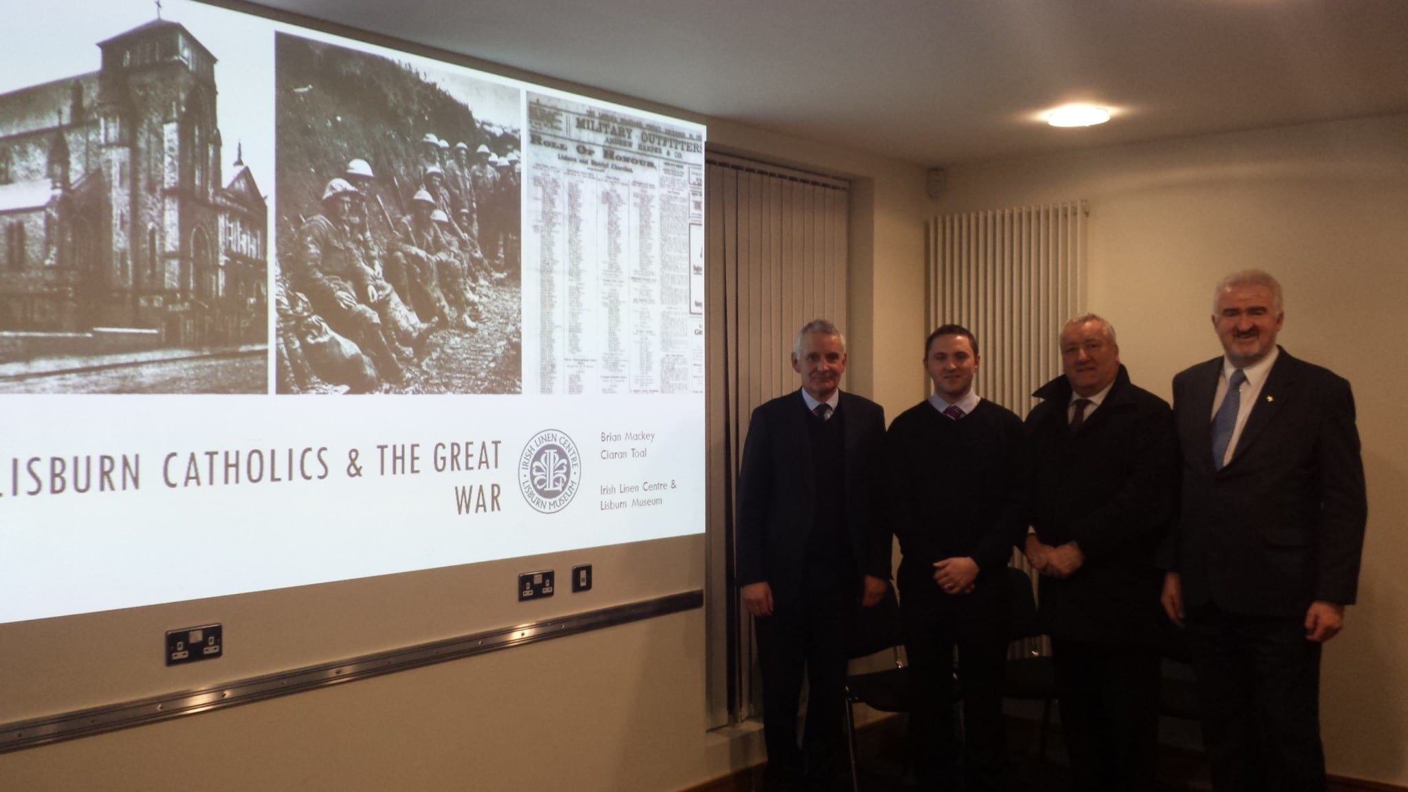Launch of teh research project: Brian Mackey, Ciaran Toal, SDLP, DUP, Lisburn Cathgolics and the Great War