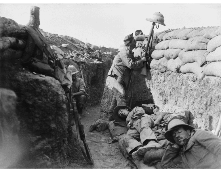 A Royal Irish Fusilier (RIF) attempts to draw the fire of a Turkish sniper. Alongside Private Joseph Rice, Private Dominic Marnell a Catholic from Ava Street, served with the 5th RIF in Gallipoli. He died in Palestine in 1918. IWM (Q 13447).