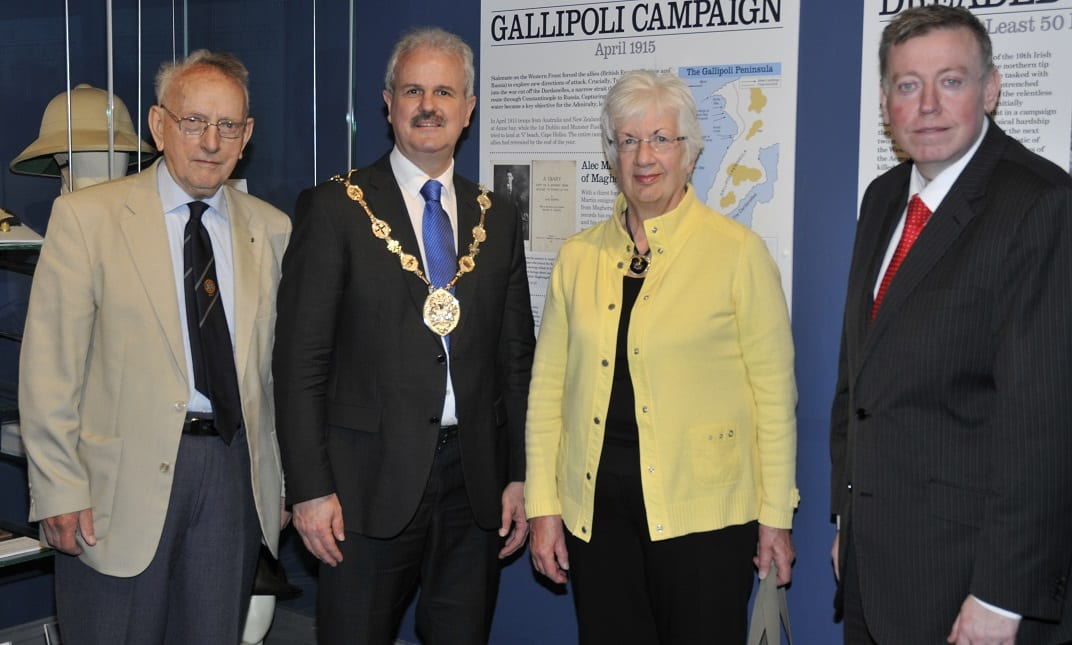 The Mayor, Councillor Thomas Beckett with Councillor Paul Porter, Chairman of Leisure, Finny O'Sullivan, whose father fought at Gallipoli, and Rosemary Bunting, Chairman of Lisburn Historical Society at the opening of the Gallipoli display in the Museum.