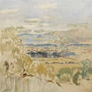 Colin Mountain from Hillsborough by Blasil Blackshaw, presented to Lisburn Museum in 2014