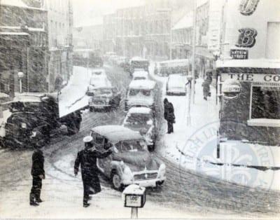 Corner of Antrim Street/Bow Street in the snow, c.1963