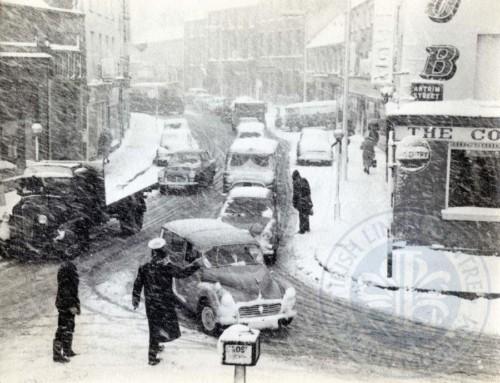 Lisburn Advent Calendar 2016 – Day 24: Corner of Antrim Street/Bow Street in the snow, c.1963