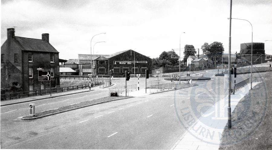 Old Quay Street/Bridge Street junction, photographed from the new Queens Road, c.1983