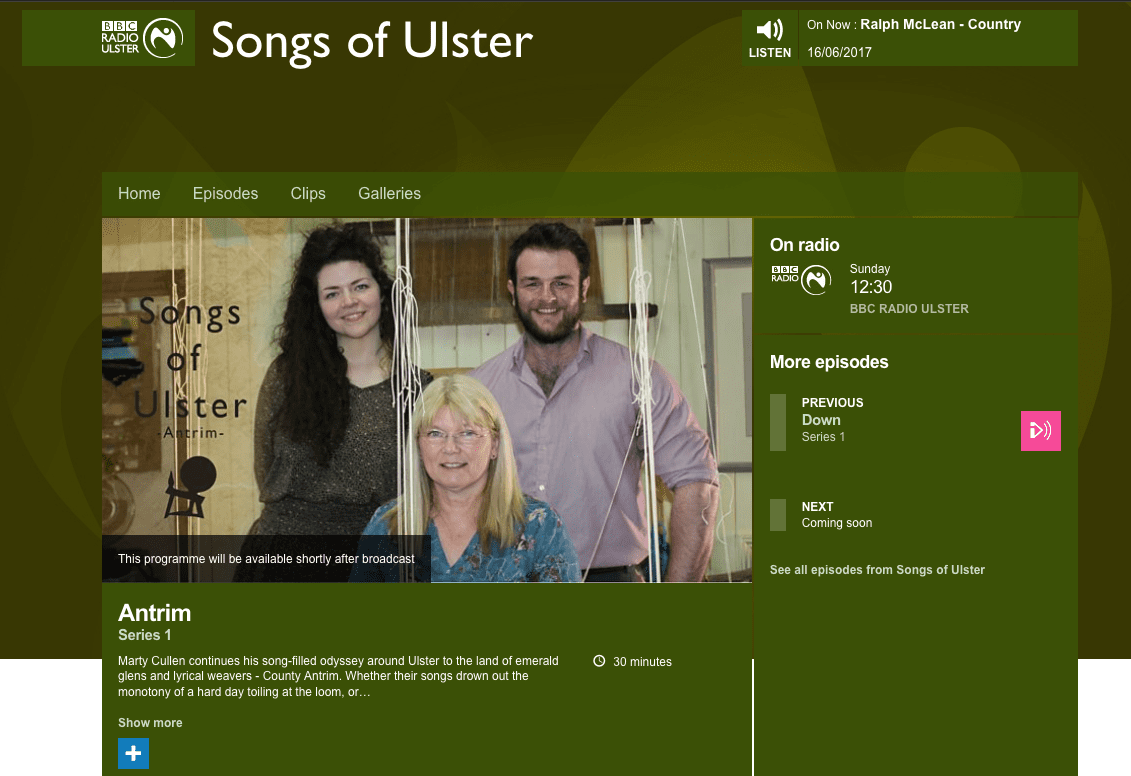 BBC songs of Ulster Irish Linen Centre Lisburn Museum