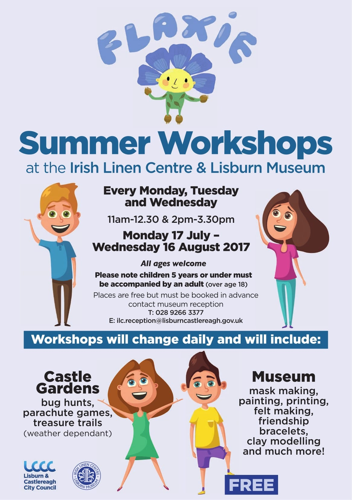 Free Flaxie Summer Workshop Lisburn Kids 2017
