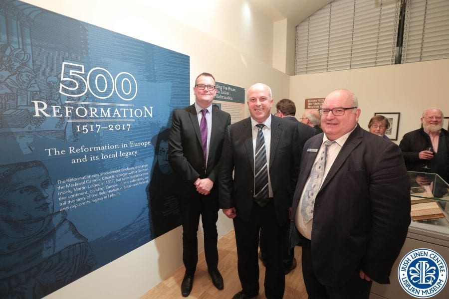 Alderman James Tinsley, alongside Ryan Black, Head of Cultural & Community Services, and Paul Allison, Irish Linen Centre & Lisburn Museum at the recent launch of the exhibition at museum.