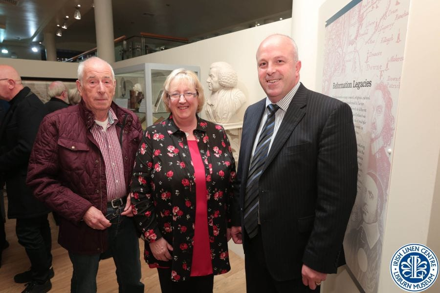 Alderman Tinsley alongside local Moravians Henry Wilson and Sarah Groves, who kindly donated material to the exhibition.