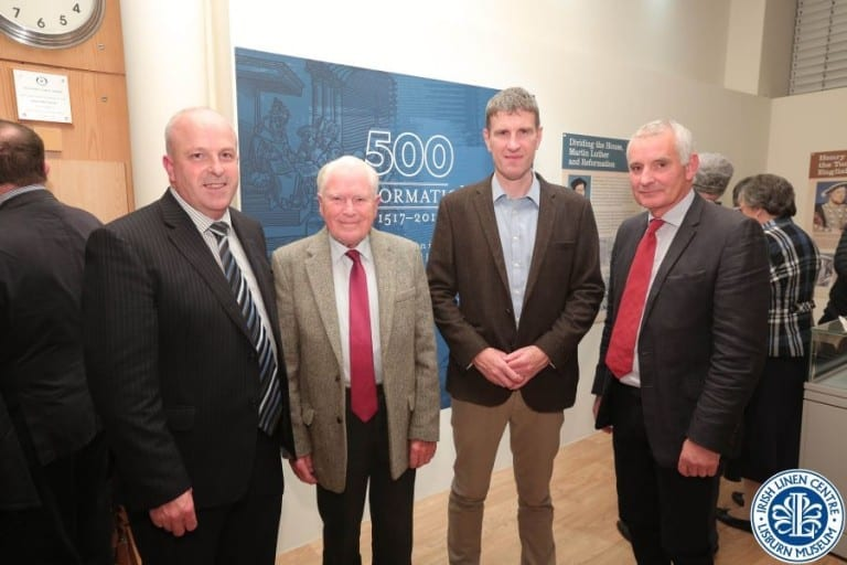 Alderman Tinsley alongside some of the generous donors to the exhibition,  Arthur Chapman and Stephen Moore, Friends School Lisburn, and Brian Mackey, curator emeritus.