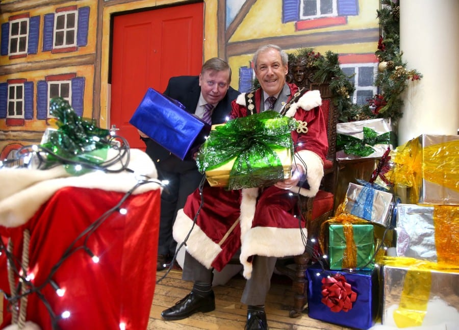 The Mayor and Alderman Porter at the Victorian Grotto at Lisburn Museum