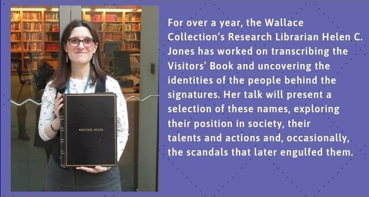 Helen Jones holding the Hertford House Visitors Book