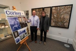 Alderman James Tinsley alongside the artist, Colin Corkey with the Triptych.