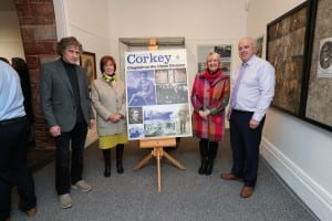 Colin Corkey and Alderman James Tinsley pictured alongside Rev Corkey's granddaughters, Jane Neill and Elizabeth English.