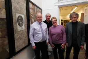 Alderman James Tinsley, David and Susan Wilson (Rev Corkey's grandchildren) alongside the artist, Colin Corkey