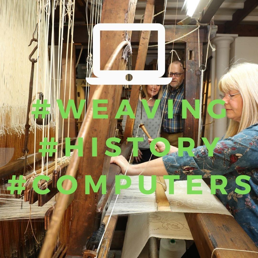 Weaving early computer jacquard loom