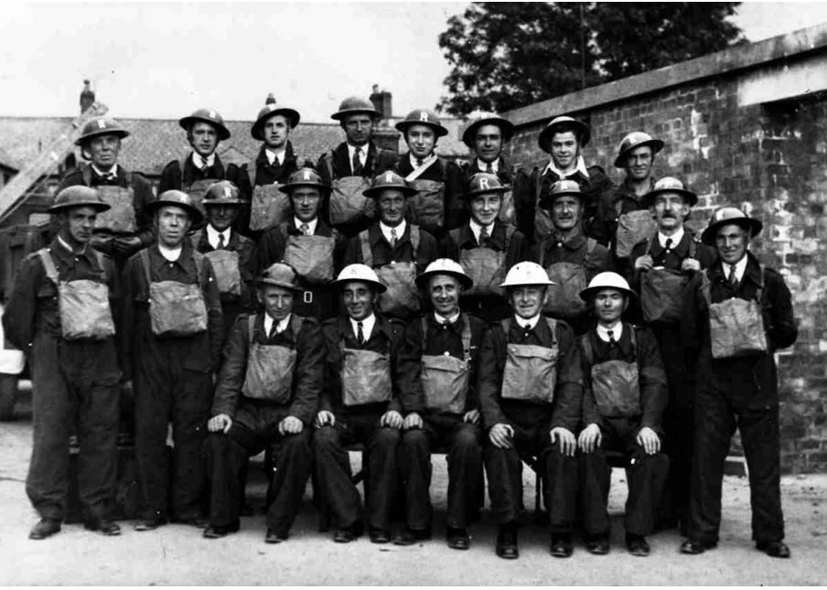 Lisburn ARP Rescue Squad at their headquarters in Wallace Avenue. The white helmets were worn by the officers