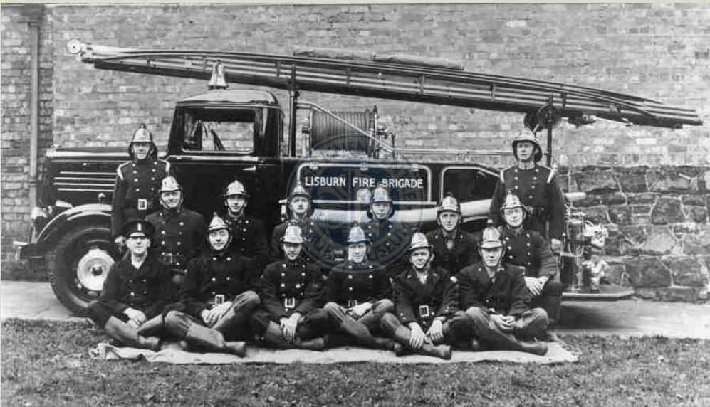 Lisburn Fire Brigade personnel in 1939 with the new Dennis fire engine. In 1941 the men with this engine assisted in the aftermath of the Blitz in Belfast.