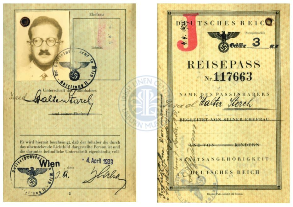 German Passport of Walter Storch, 1907-83, born in Vienna of Jewish parentage who made a new life in Lisburn.