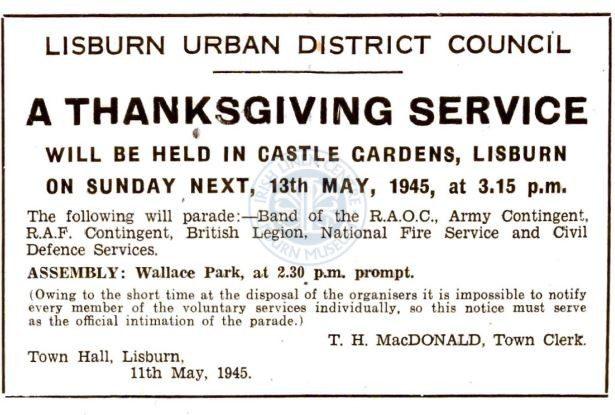 Thanksgiving service, Lisburn