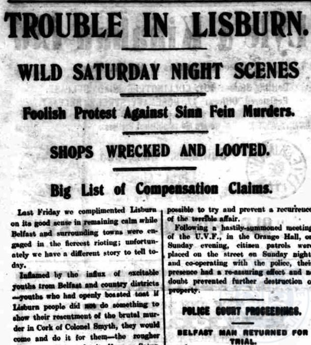 July Riots, Lisburn Standard, 1920