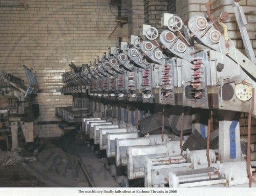 Photo: The machinery falls quiet at Barbour Threads, Lisburn, 2006