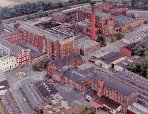 Barbour: an aerial view of Barbour's Mill, Hilden