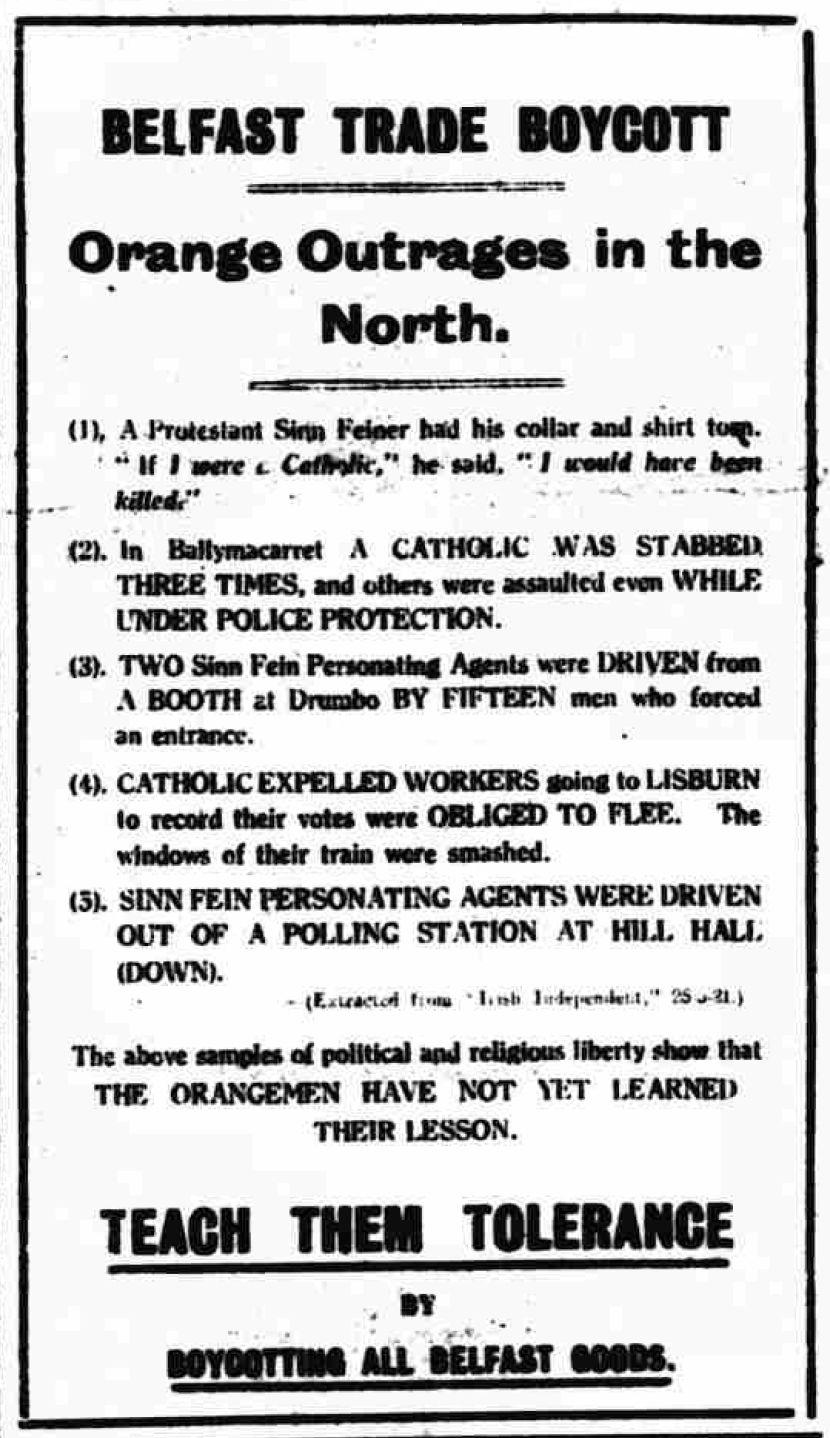Belfast Trade Boycott and Lisburn, Freeman's Journal, May 1921