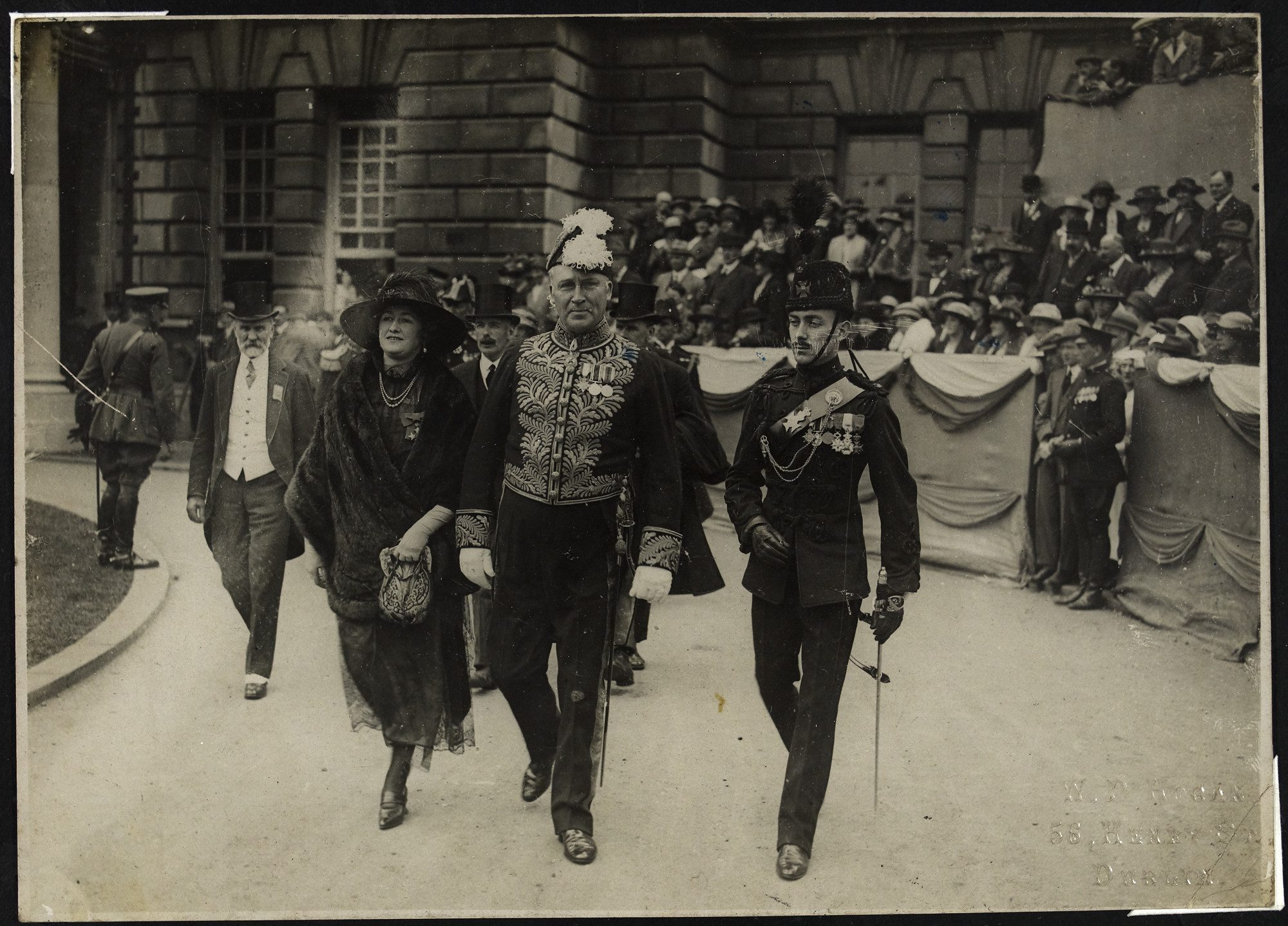 Sir Hamar Greenwood, Chief Secretary for Ireland, arriving at City Hall. NLI: HOGW 185