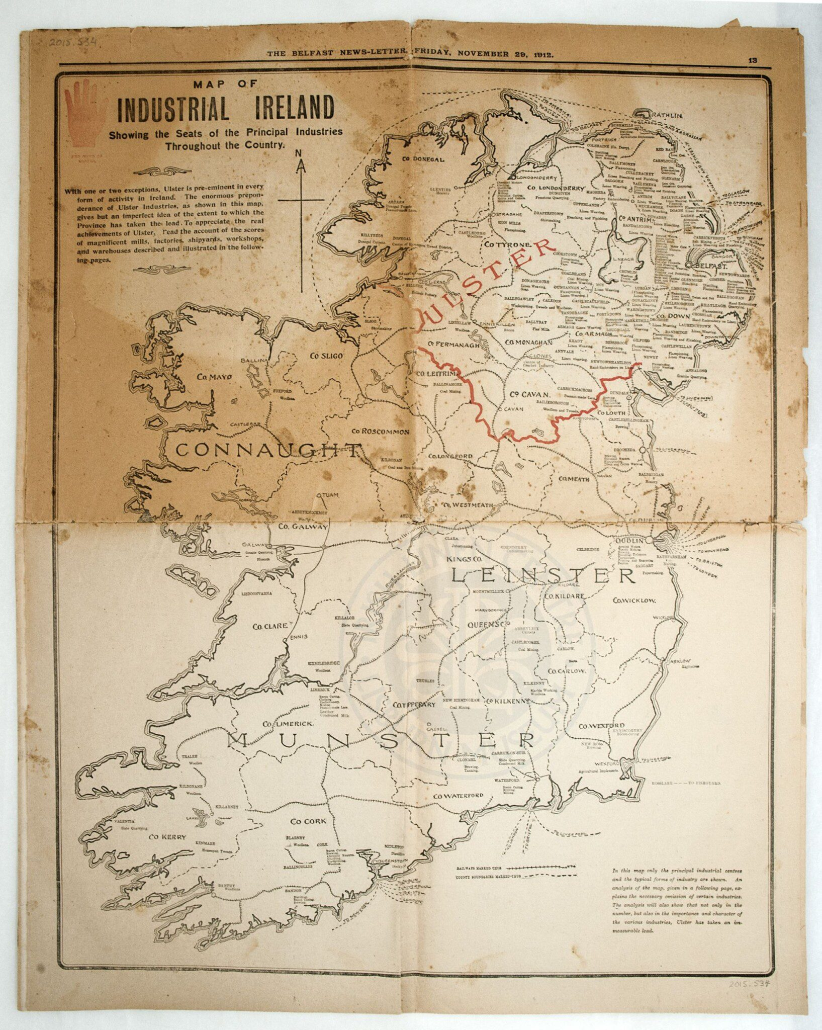 Map of Industrial Ulster - Lisburn Museum Collection 1912