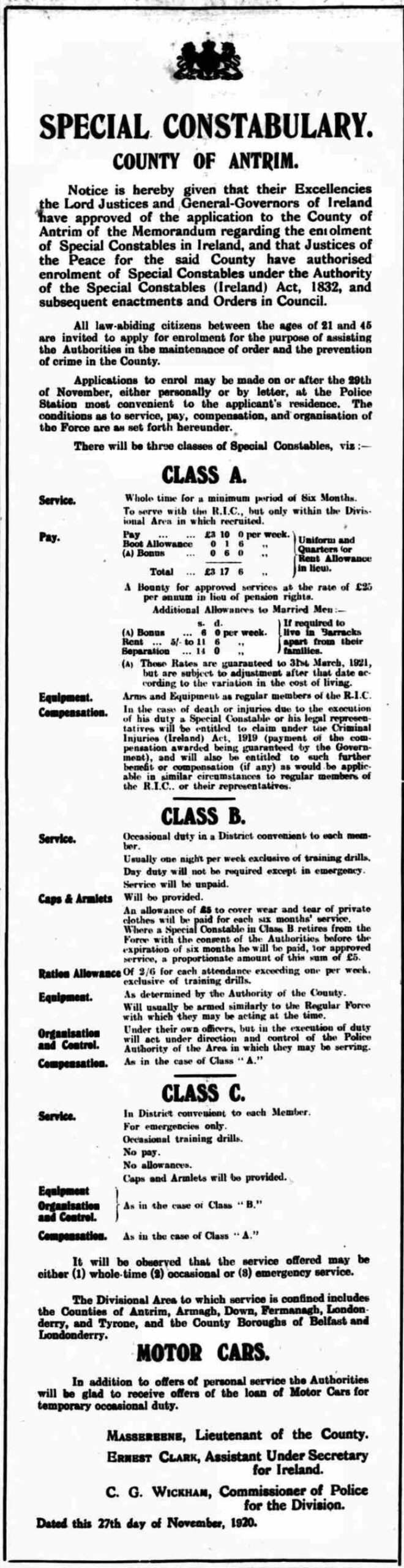 Recruitment ad for the Ulster Special Constabulary, Lisburn Standard, 3rd December 1920