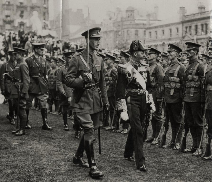 Kings George V inspecting Troops, Public Domain