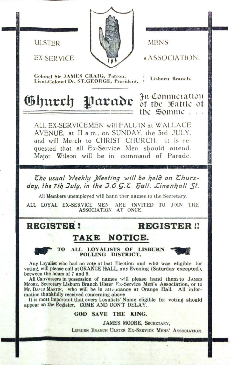 Advert, Lisburn Ex-Servicemen's Association, July 1921