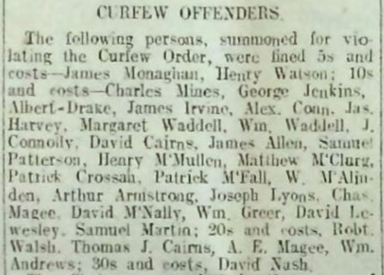 Curfew Offenders, July 1922 - Lisburn Herald