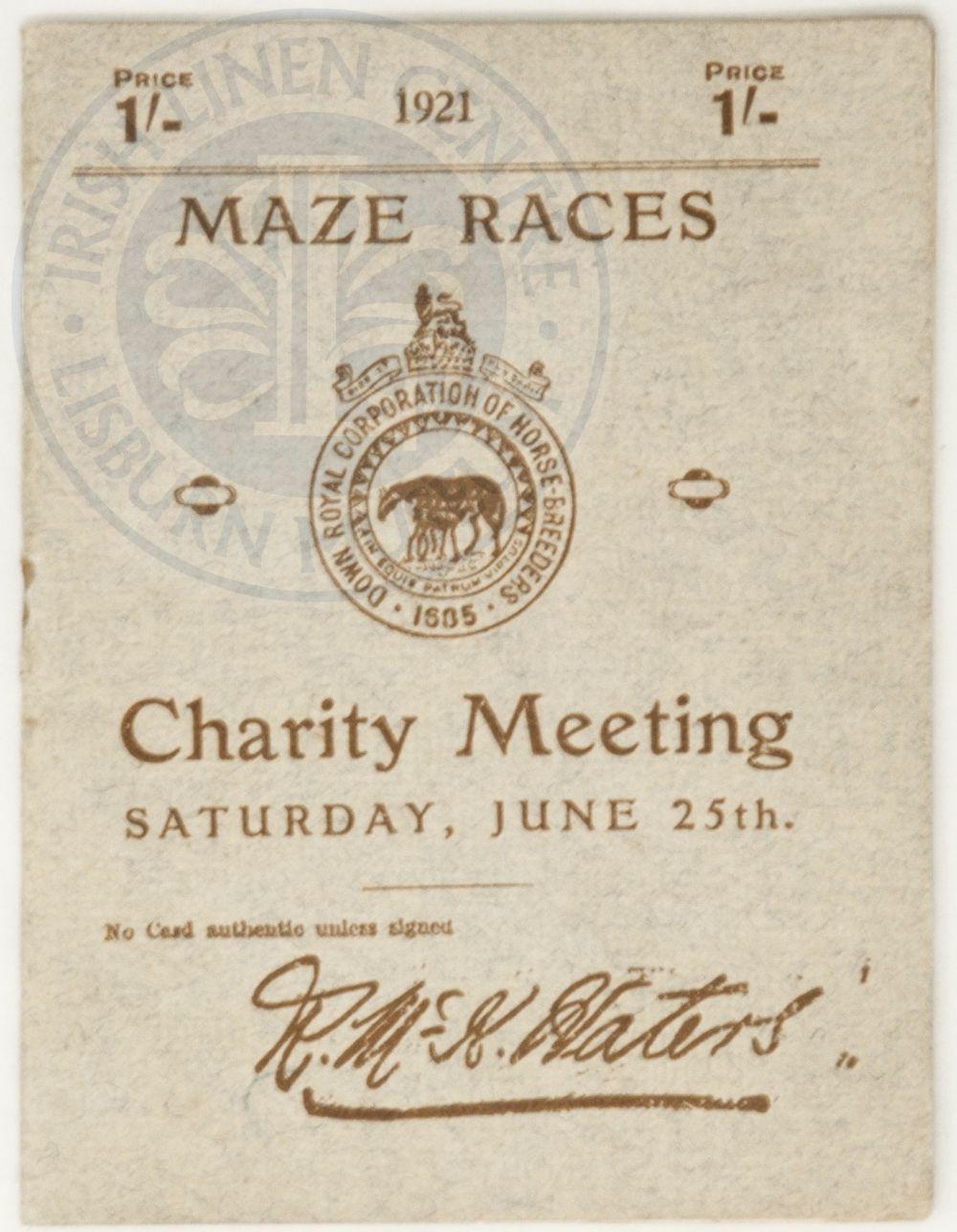 Programme, Down Royal Races, 1921 - ILC&LM Collection