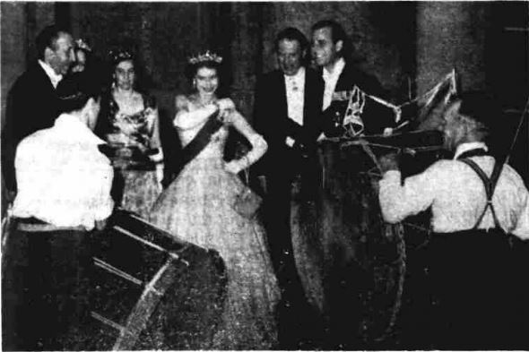 Queen Elizabeth and Prince Philip watching Lambeg Drummers, 1953