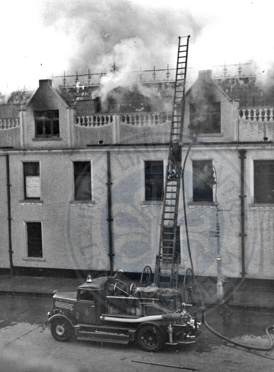 Fire Engine at Market Square, 1949 - ILC&LM Collection