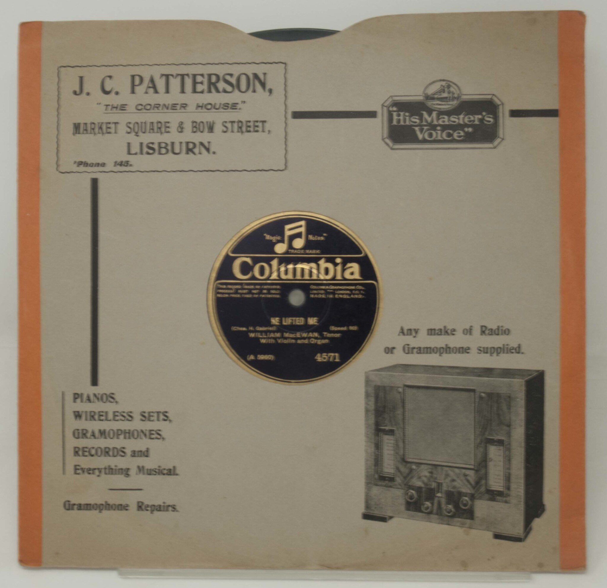Object, J.C. Patterson, Gramophone Record