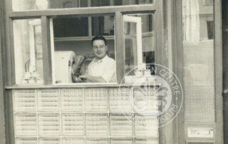 A photo of Dominic Ginesi at the soft scoop ice cream counter, Lisburn