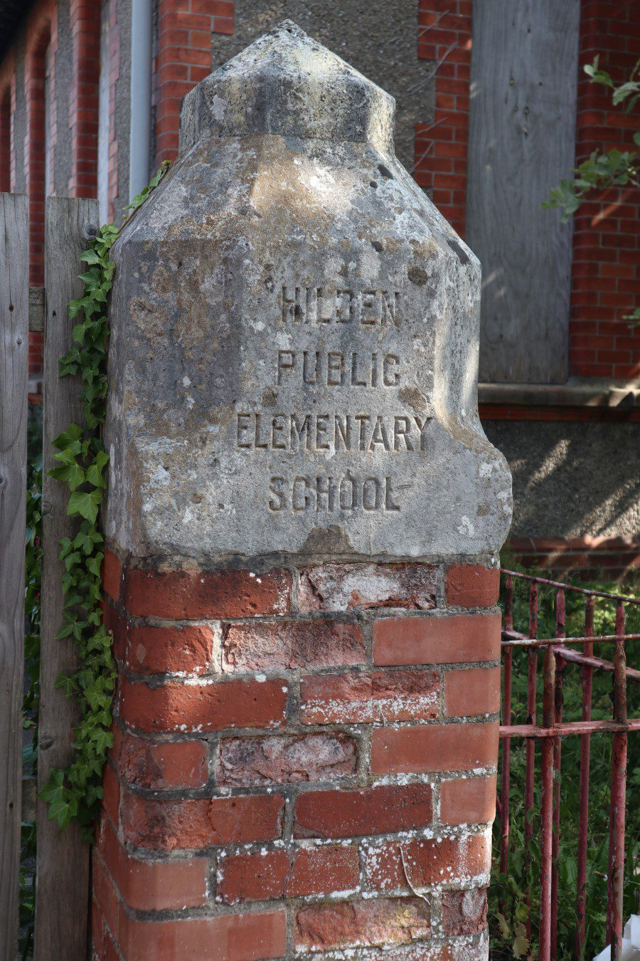 Hilden School Gatepost